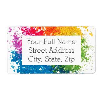 Color Powder Rainbow Shipping Label