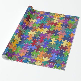color puzzle pieces wrapping paper