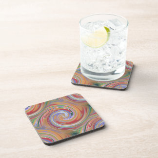 Color rainbow swirling pattern coaster