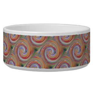Color rainbow swirling pattern dog water bowls
