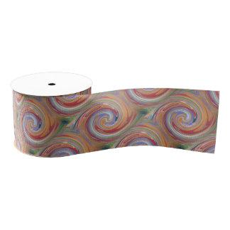 Color rainbow swirling pattern grosgrain ribbon
