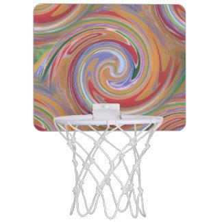 Color rainbow swirling pattern mini basketball hoop