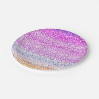 Color Spectrum Sparkle Effect Paper Plate