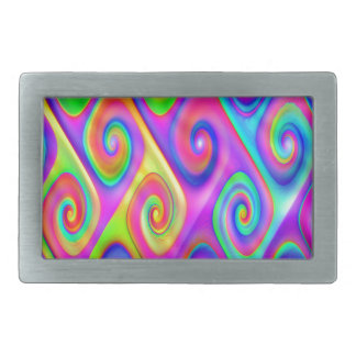 Color Spiral Alpgorithmic Pattern Rectangular Belt Buckles