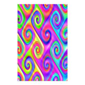 Color Spiral Alpgorithmic Pattern Stationery