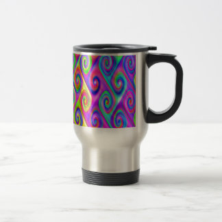 Color Spiral Alpgorithmic Pattern Travel Mug
