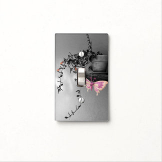 Color Splash Butterfly Still Life Photograph Light Switch Cover