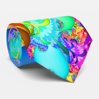 Color Splash Fractal Double-sided Tie