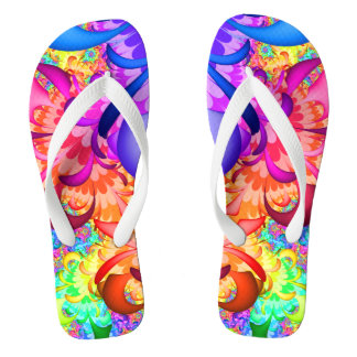 Color Splash Fractal Flip Flops