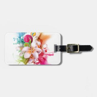 Color Splash Plumeria Hawaiian Flower Luggage Tag