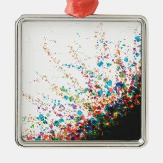 Color Splatter Comboniations Silver-Colored Square Ornament