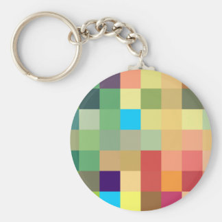 color squares background abstract geometric patter basic round button keychain