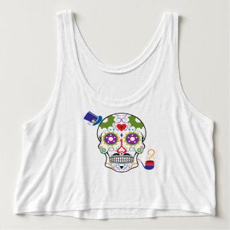 Color Steampunk Sugar Skull Tank Top