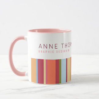 color stripes, name and profession, pink & stylish mug