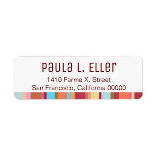 color stripes return address label
