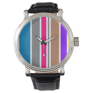 Color Stripes Vintage Leather Watch