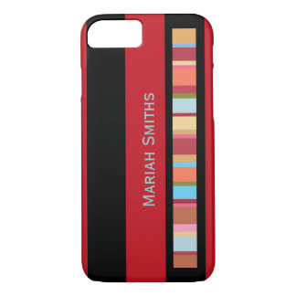 color-stripes with custom-name iPhone 7 case