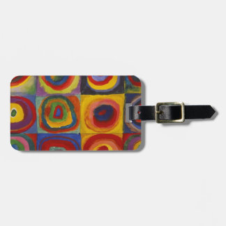 Color Study: Squares with Concentric Circles Luggage Tag