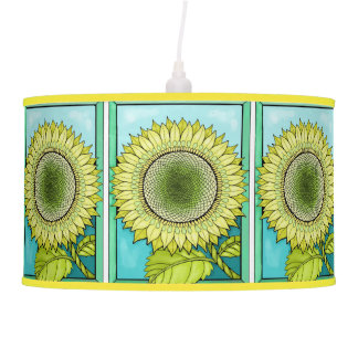 Color Sunflower Frame Line Art Design Ceiling Lamp