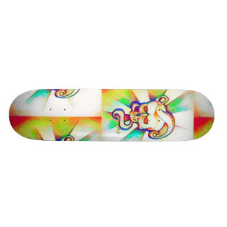 Color Swirl Skull Skateboard