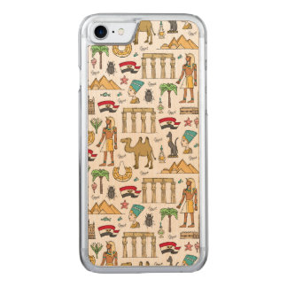 Color Symbols of Egypt Pattern Carved iPhone 8/7 Case