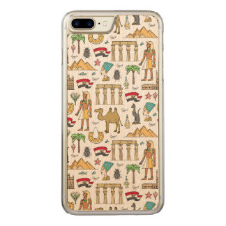 Color Symbols of Egypt Pattern Carved iPhone 8 Plus/7 Plus Case