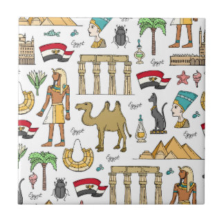 Color Symbols of Egypt Pattern Ceramic Tiles