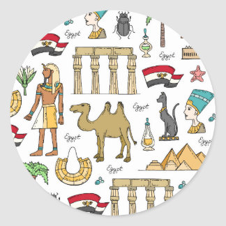 Color Symbols of Egypt Pattern Classic Round Sticker