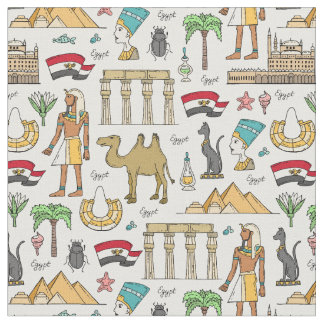 Color Symbols of Egypt Pattern Fabric