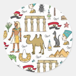 Color Symbols of Egypt Pattern Round Sticker