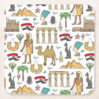Color Symbols of Egypt Pattern Square Paper Coaster
