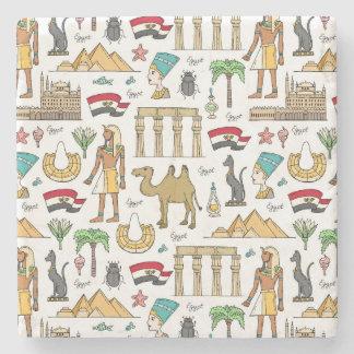 Color Symbols of Egypt Pattern Stone Coaster