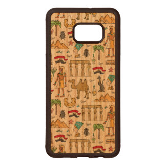 Color Symbols of Egypt Pattern Wood Samsung Galaxy S6 Edge Case