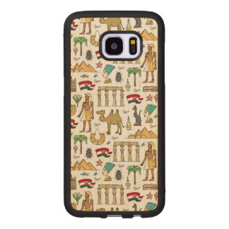 Color Symbols of Egypt Pattern Wood Samsung Galaxy S7 Edge Case