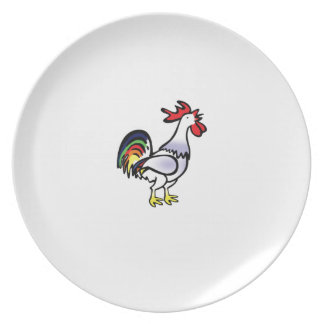 color tail rooster yeah plate