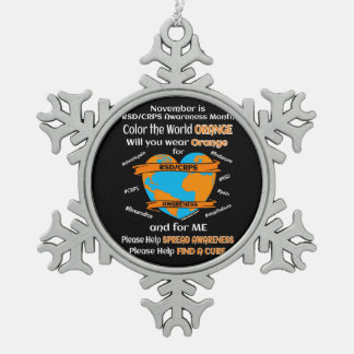 Color the World Orange...RSD/CRPS Snowflake Pewter Christmas Ornament