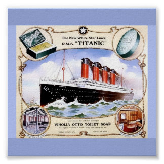 Color Vintage 1912 TITANIC Image on Toilet Soap Ad Poster