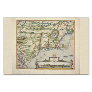 Color Vintage Europe North Sea Old World Map Tissue Paper