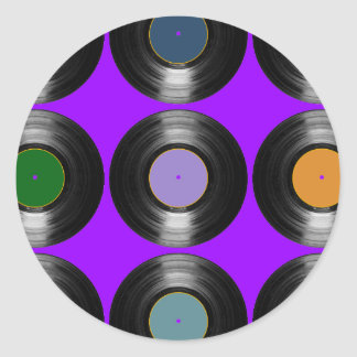 color vinyl records pattern round sticker