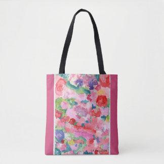 Color Wall Floral Tote Bag Pink Trim