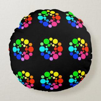 Color Wheel Pillow, Black Round Pillow