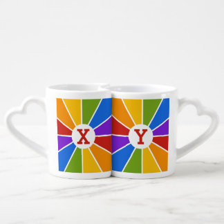 Color Wheel / Rays custom monogram couple's mugs Lovers Mugs