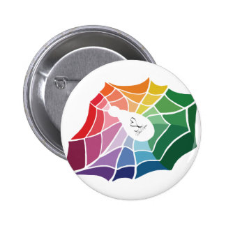 Color Wheel Spider Web 2 Inch Round Button