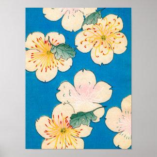 Color Woodblock Print of Dogwood Blossoms