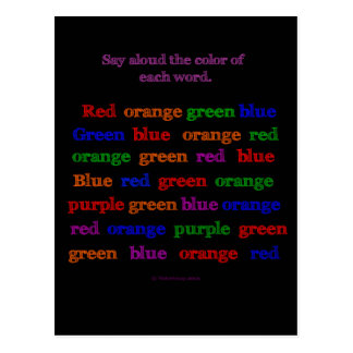 Color Word Illusion Postcard