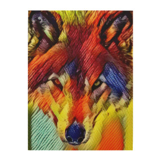Color Yarn Wolf Abstract Wood Print