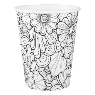 Color Your Flowers. Paper Cup