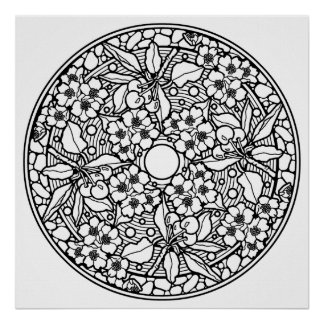 Color Your Own Cherries Mandala Coloring Poster