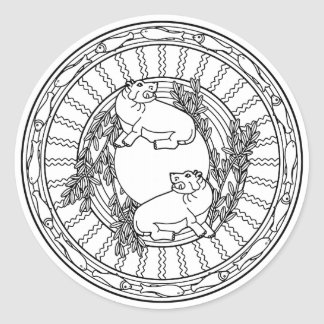 Color Your Own Coloring Book Design Animals Classic Round Sticker