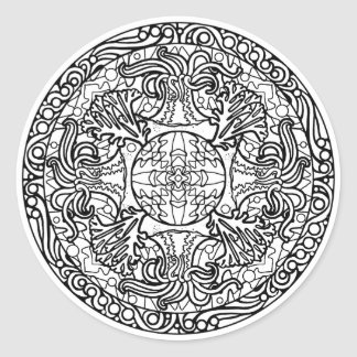 Color Your Own Coloring Book Design Sea Anemone Classic Round Sticker